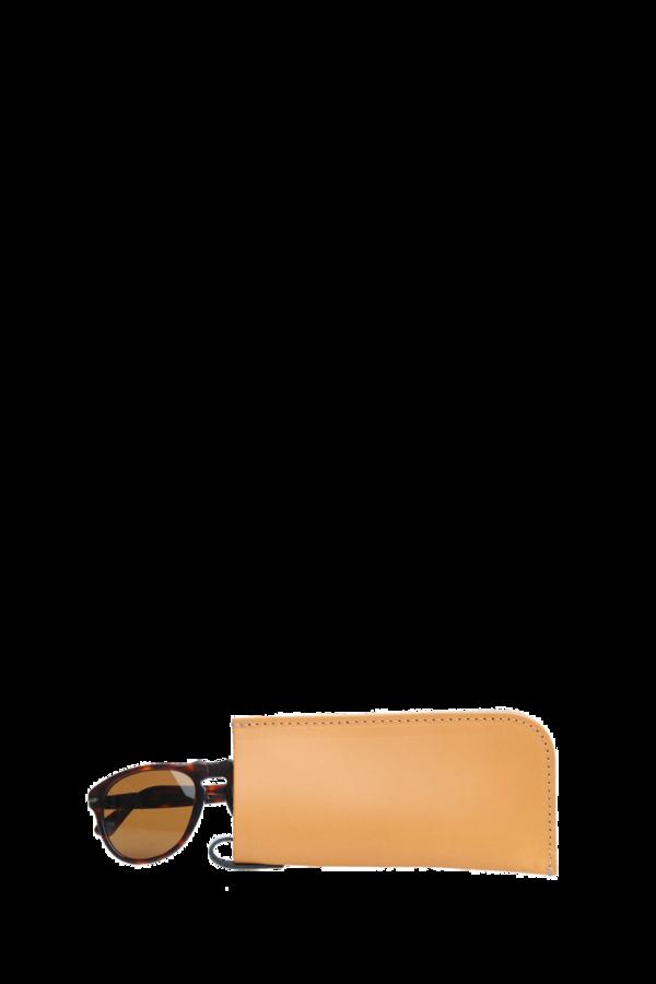 Eyeglass sleeve tan leather