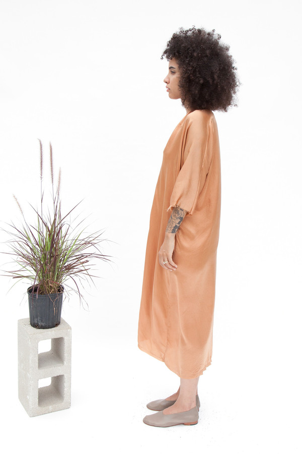 Miranda Bennett Muse Dress, Silk Charmeuse in Sand