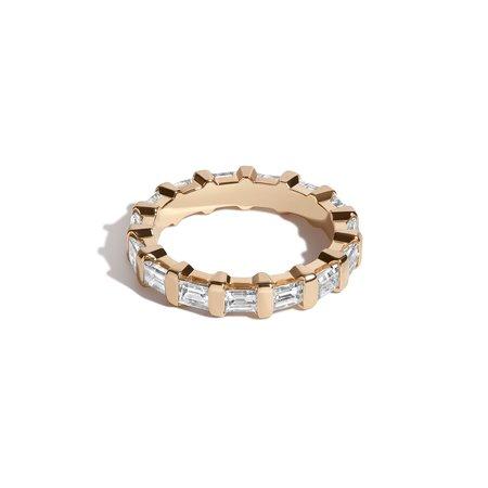 Shahla Karimi Wider Rockefeller Baguette Bar Set Ring - 14k Gold
