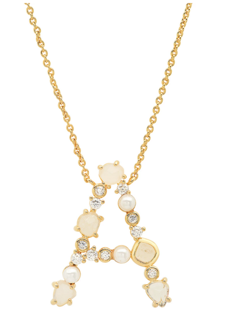 Tai Neutral Stone Monogram Necklace - 14k Gold Plated
