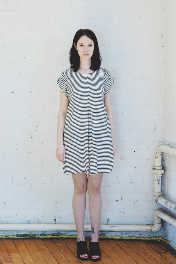 Amanda Moss Striped Crew Dress (Ivory Stripe)