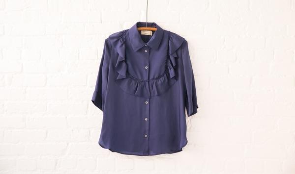 maison kitsuné ruffle blouse