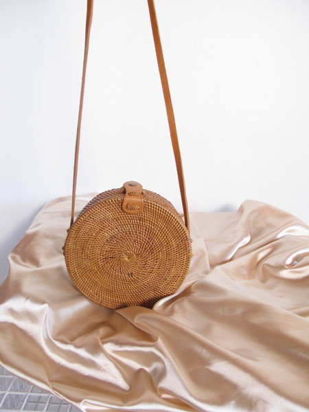 Folk Fortune Bali Roundie with Snap, Rattan Bag, Straw Bag