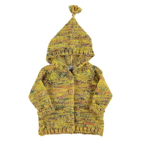 Kids piupiu chick Knitted Hooded Jacket - Marbled Mustard