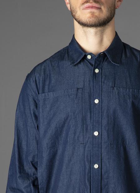 GREI. long sleeve RELAXED 4 POCKET SHIRT - MIDNIGHT BLUE DENIM
