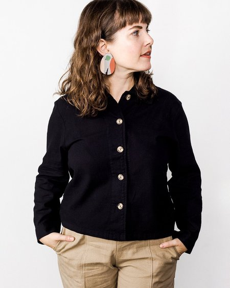 Me & Arrow Flannel Crop Shirt - Black