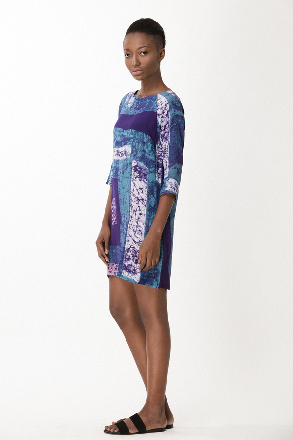Osei-Duro Linter Dress in Navy Rubics