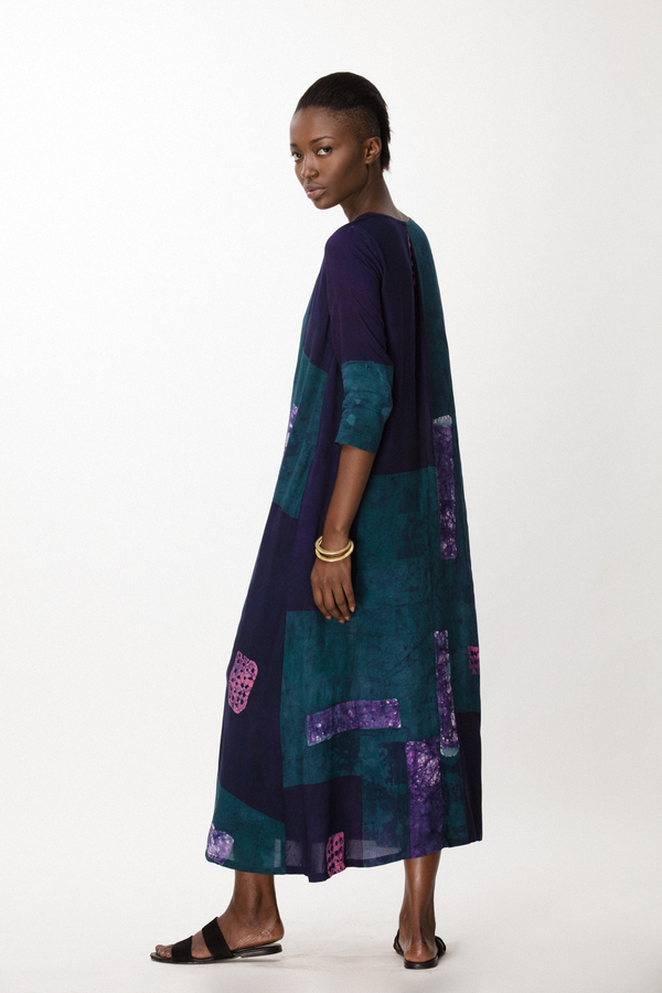 Osei-Duro Nima Long Dress in Navy Rubics
