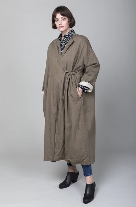Sula Clothing LTD Long Wrap Coat with Tie - Ink