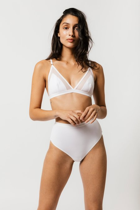 Mary Young Contrast Bra - White
