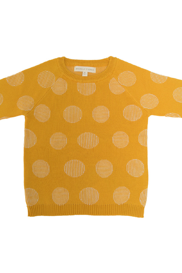 Kids' Micaela Greg Gold Pinstripe Dot Sweater