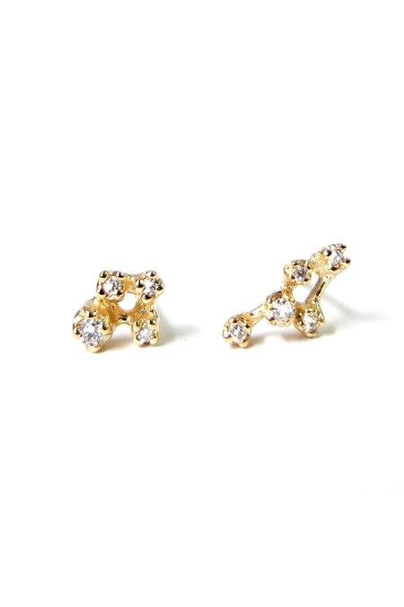 n + a Asymmetrical Diamond Web Earrings - Yellow Gold