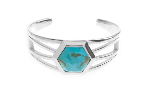 Shahla Karimi Hex Set Cuff with Turquoise