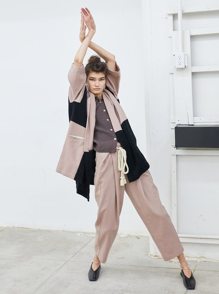 Atelier Delphine Haori Coat Patched Boa in Mauve Taupe/Black
