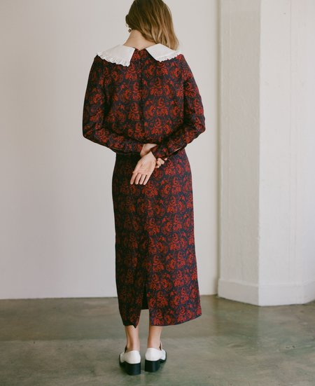 Suzanne Rae Paisley Jacquard Peter Pan Collar Dress in Red/Navy