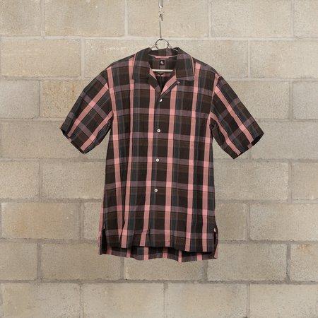 KAPTAIN SUNSHINE Open Collar Short Sleeve Shirt - Charcoal Plaid