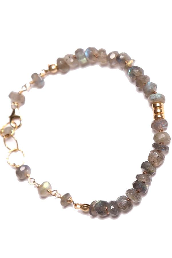 James and Jezebelle Labradorite with Gold Beads Bracelet