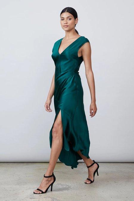 Allen Schwartz Desiree Deep V Silk Dress - Emerald