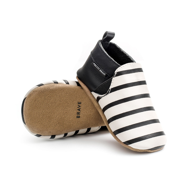 Pretty Brave Slip-On Black And White Stripes