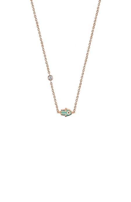 Sydney Evan Mini Enamel Diamond Bezel Hamsa Necklace
