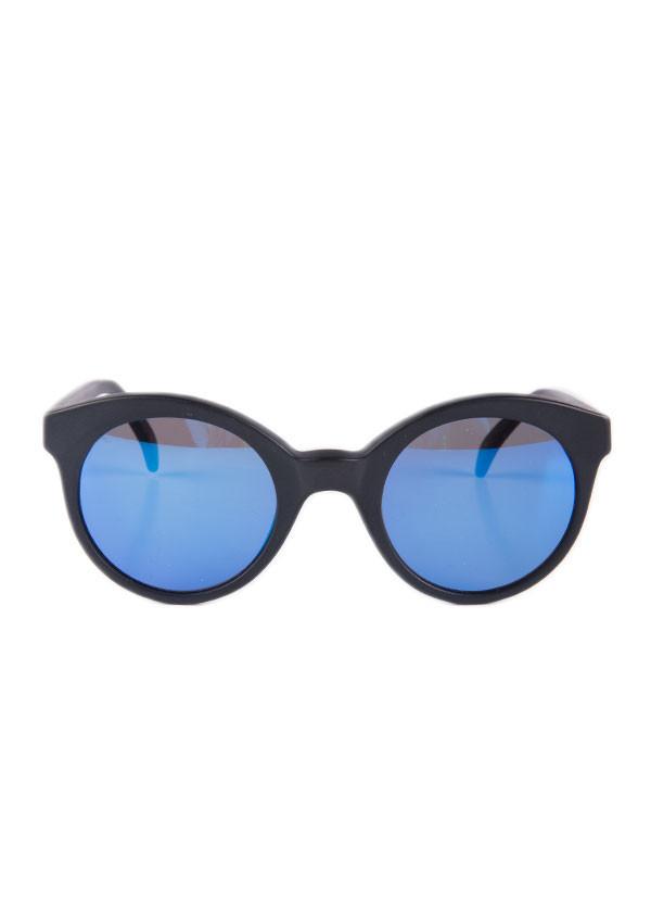 Illesteva - Whitechapel in Matte Black with Blue Mirrored Lenses