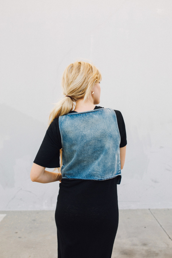 Objects Without Meaning Denim Crop Top, Blue