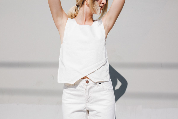 Objects Without Meaning Denim Crop Top, White