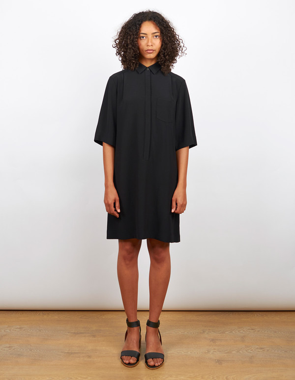 Filippa K Drapey Pull On Shirt Dress Black