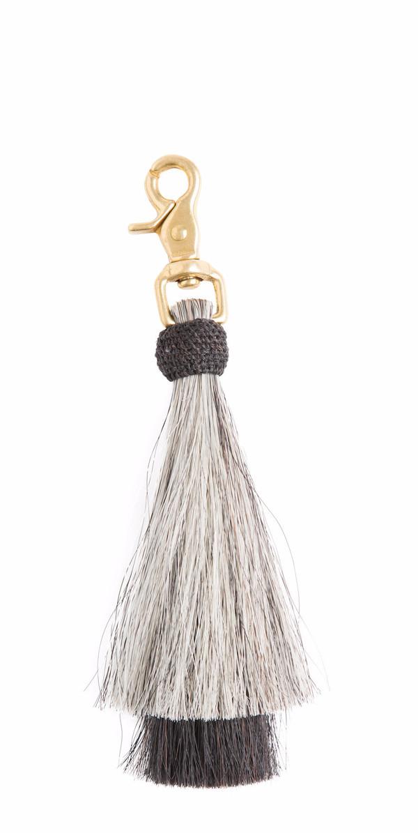 OLIVEVE grey/black double bell horse hair tassel on brass clip