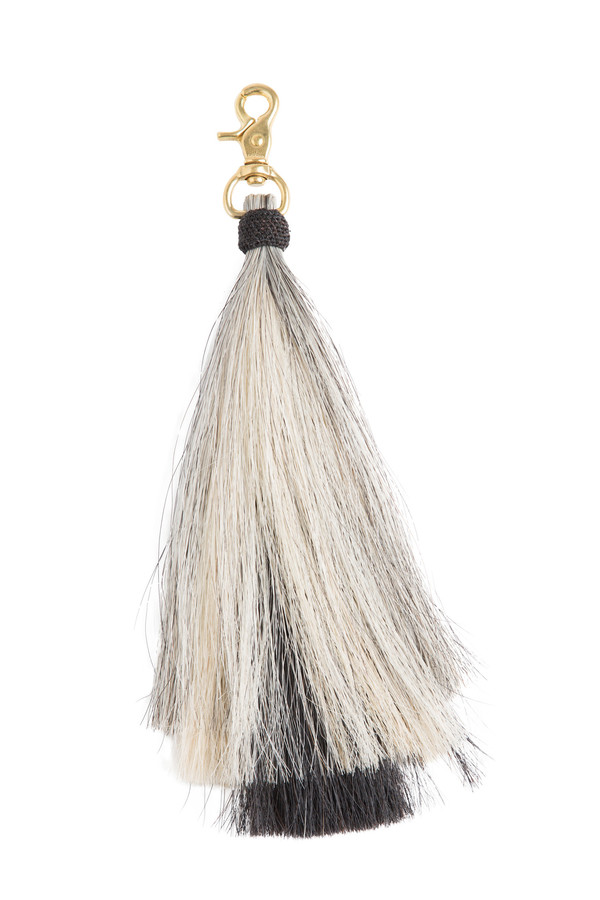 OLIVEVE triple bell horse hair tassel on brass clip-grey/blonde/black