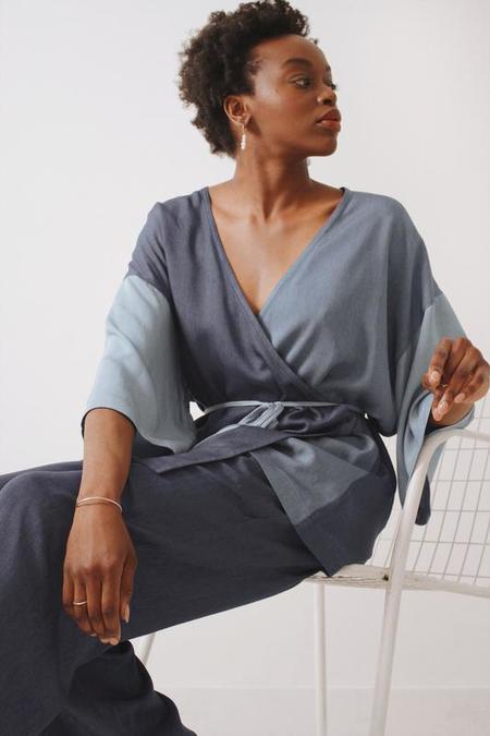 Soft Focus Mini Wrap Robe - Ultra Denim