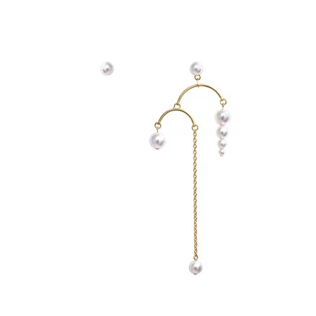 Joomi Lim Chandelier Earrings w/ Pearls & Long Chains - Gold/White