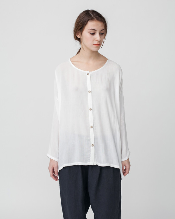Revisited Matters Crushed Cotton Shirt in Off-White