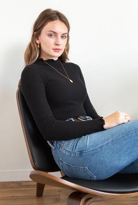 Azalea Poppy Mock Neck Long Sleeve Top - Black