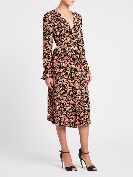 Baum und Pferdgarten Annamay Dress - Peach Black Floral
