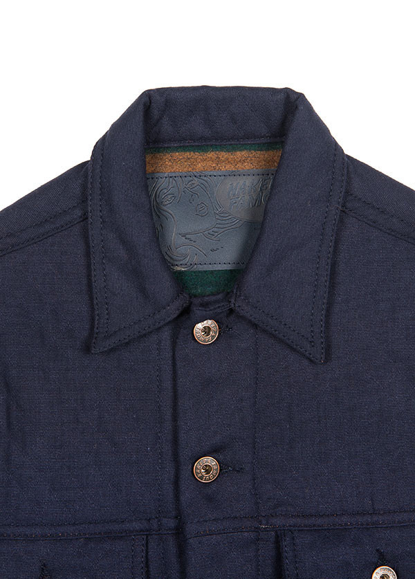 Men's Naked & Famous Denim - Denim Jacket in Quilted Cotton / Wool Navy