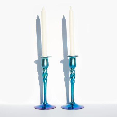 Kindred Black Blue Aurene Candlesticks by Steuben