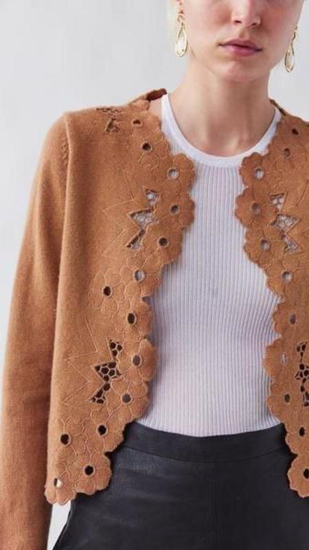 Rachel Comey Solei Cardigan - Camel Eyelet Knit