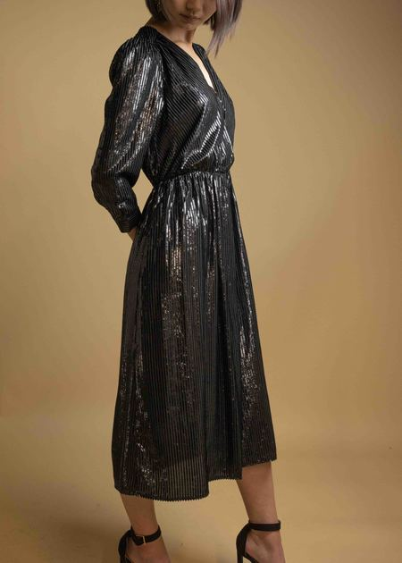 SEE U SOON Shimmery Striped Dress - BLACK