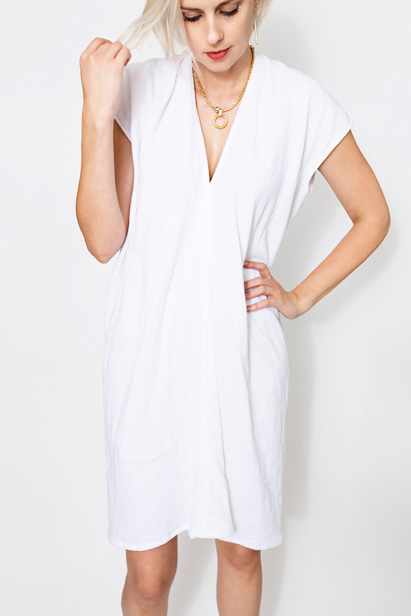 Miranda Bennett Everyday Dress, Lined Cotton Gauze in White