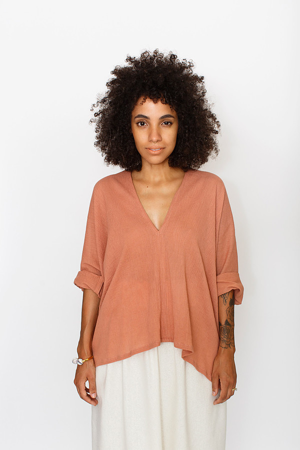 Miranda Bennett Muse Top, Cotton Gauze in Noon