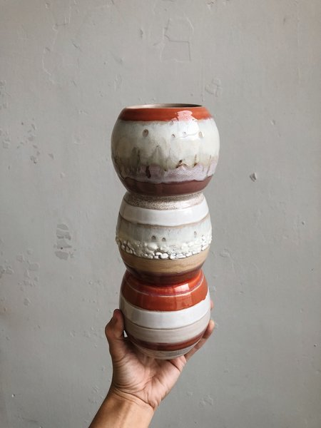 The Object Enthusiast One of a Kind Colorful Striped Porcelain Vase