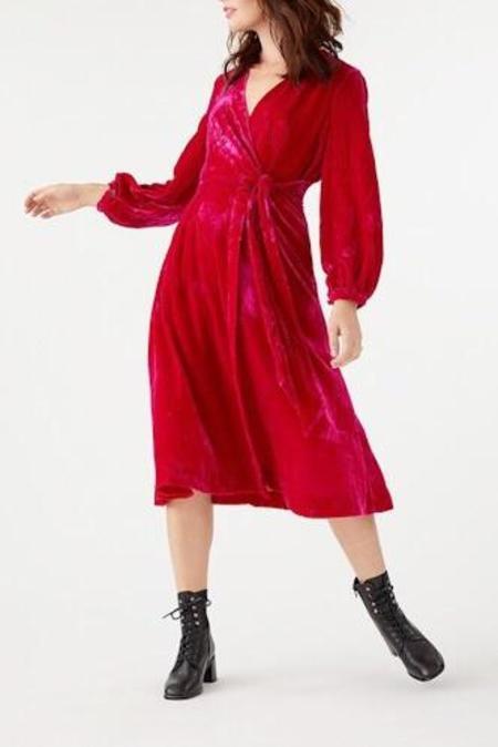 emily and fin Luna Velvet Wrap Dress