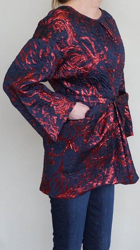 Rachel Comey Scope Top - Metallic Ruby/Navy Jacquard Print