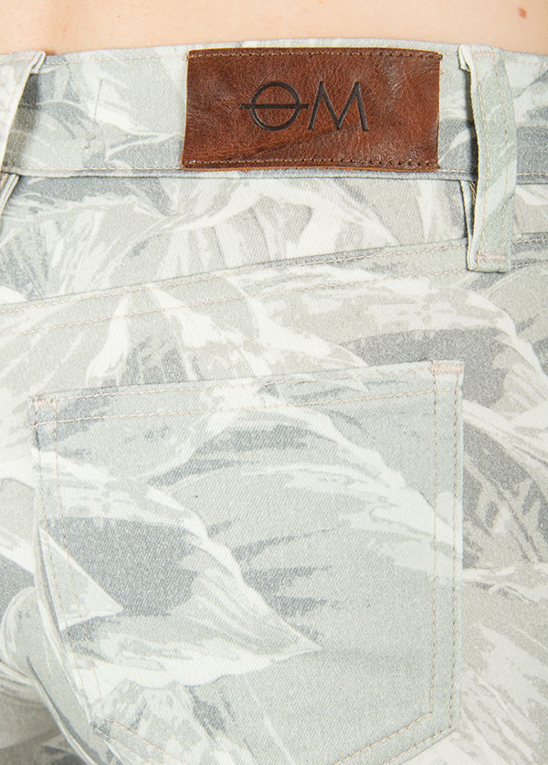 Objects Without Meaning - Hi-Rise Denim Short in Hosta Print Greys
