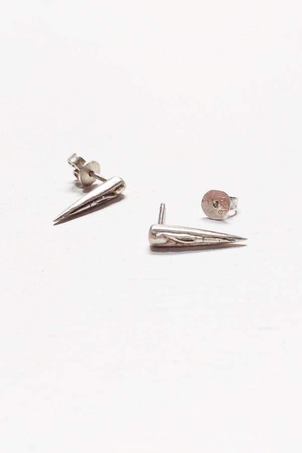 L. SHOFF Sterling Silver Engraved Spike Stud