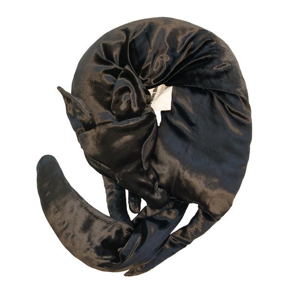 Faux Fox Scarf in Black Panne Velvet
