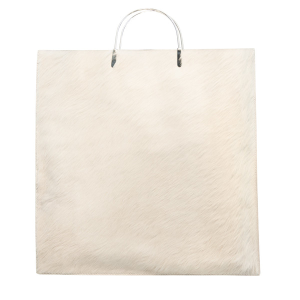 Metal Clip Handle Bag in White Pony