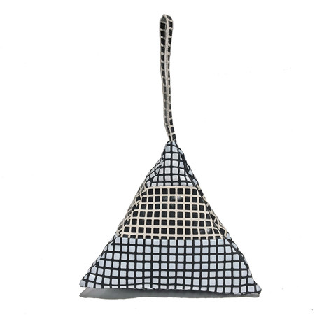 Slow and Steady Wins the Race Striped Pyramid Bag in BW Grid and WB Grid