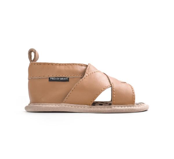 Pretty Brave Fringe Cross-Over Sandal Tan